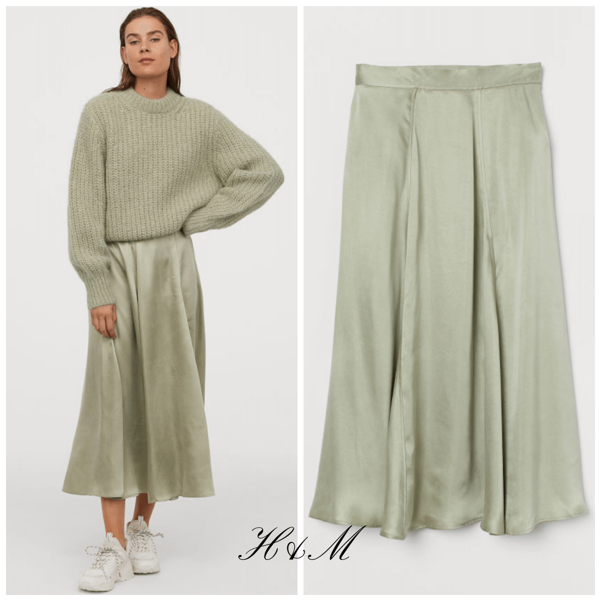 satin chic skirt h&m