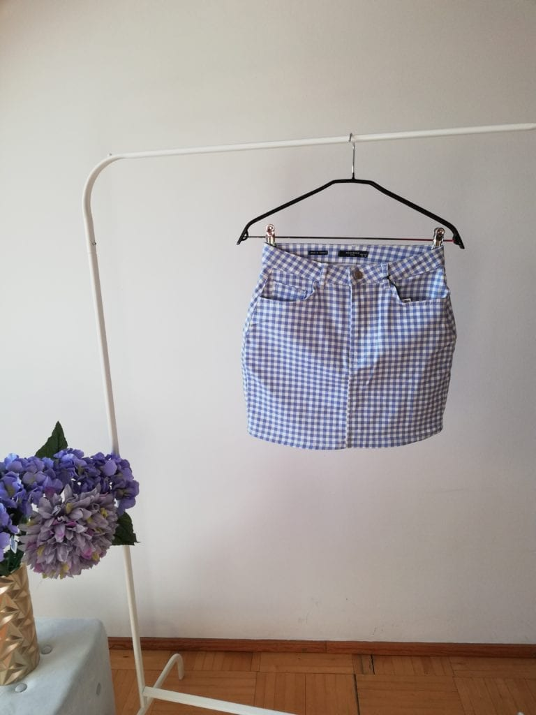 jenasowa spódniczka w kratkę Reserved