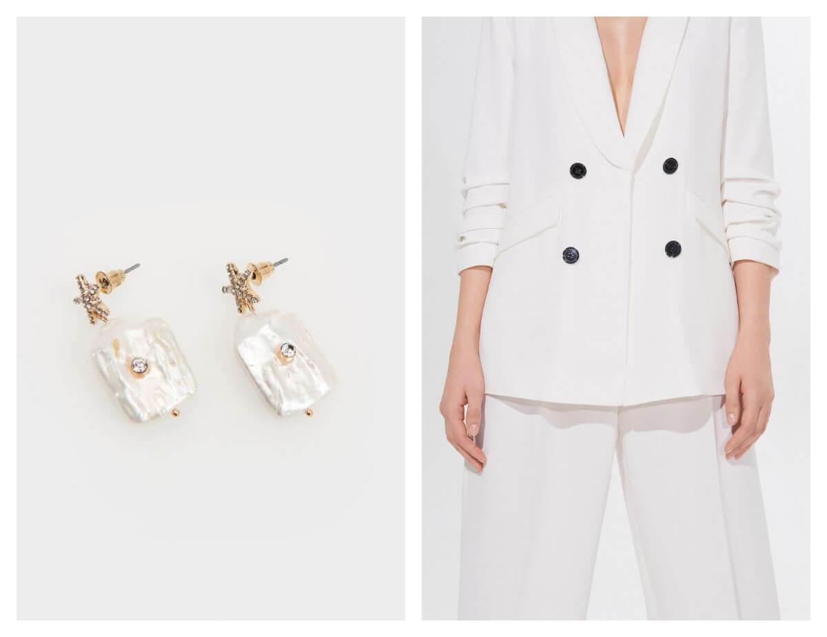 sukienki i kolczyki z Mohito- biały garnitur