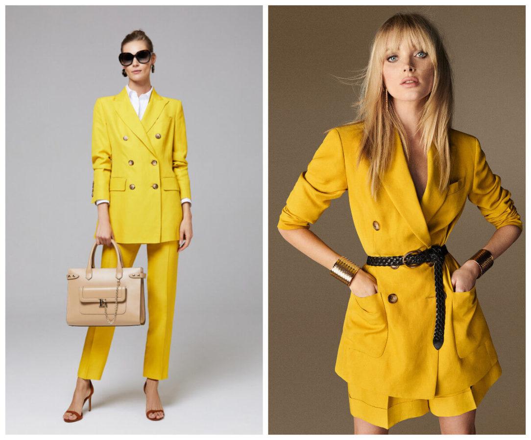 włoskie wakacje z Luisa Spagnoli żółty komplet spodnie i marynarka