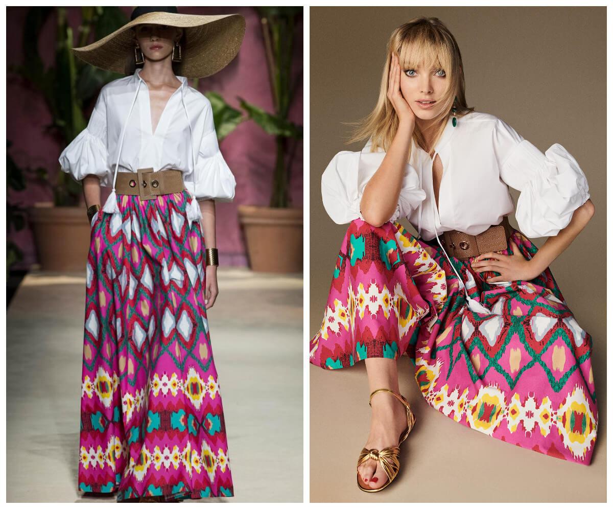 włoskie wakacje z Luisa Spagnoli kolorowa spodnica i biała bluzka