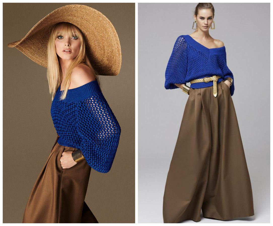 włoskie wakacje z Luisa Spagnoli brazowe spodnie palazzo i niebieski sweter