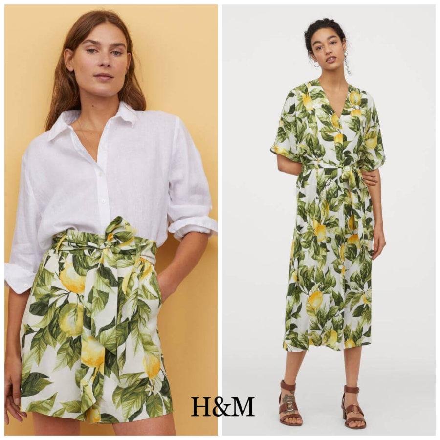 sukienki w cytryny i spodenki z H&M