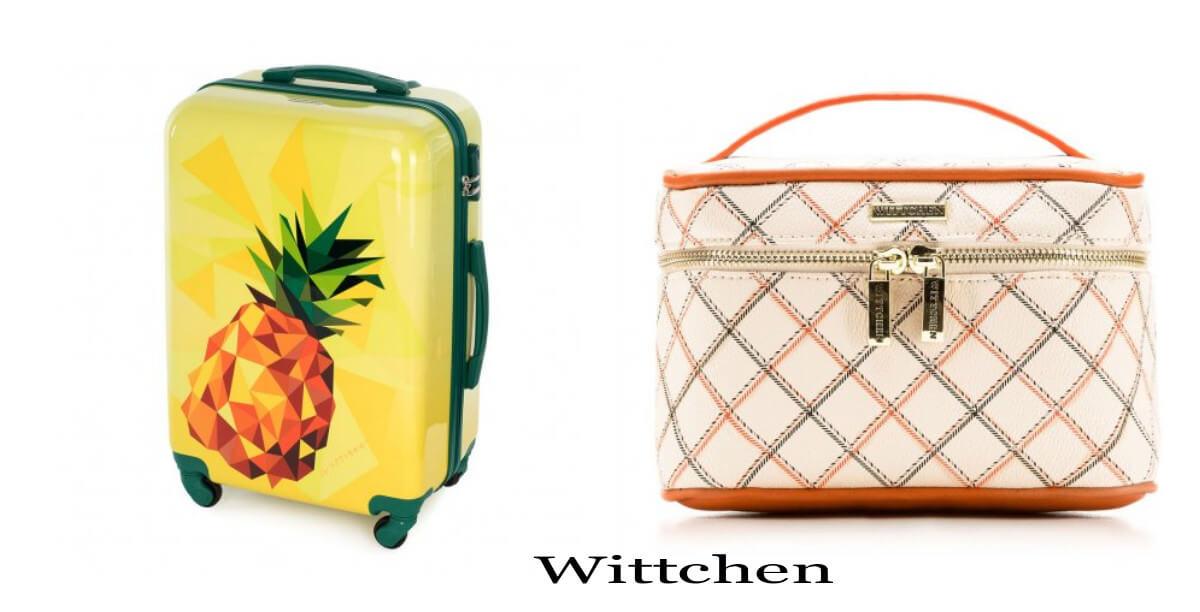 walizka na wakacje z ananasem Wittchen i kosmetyczka