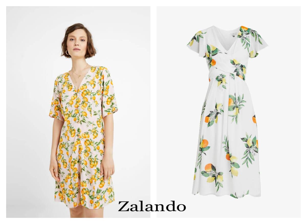 sukienki w cytryny z dekoltem od Zalando