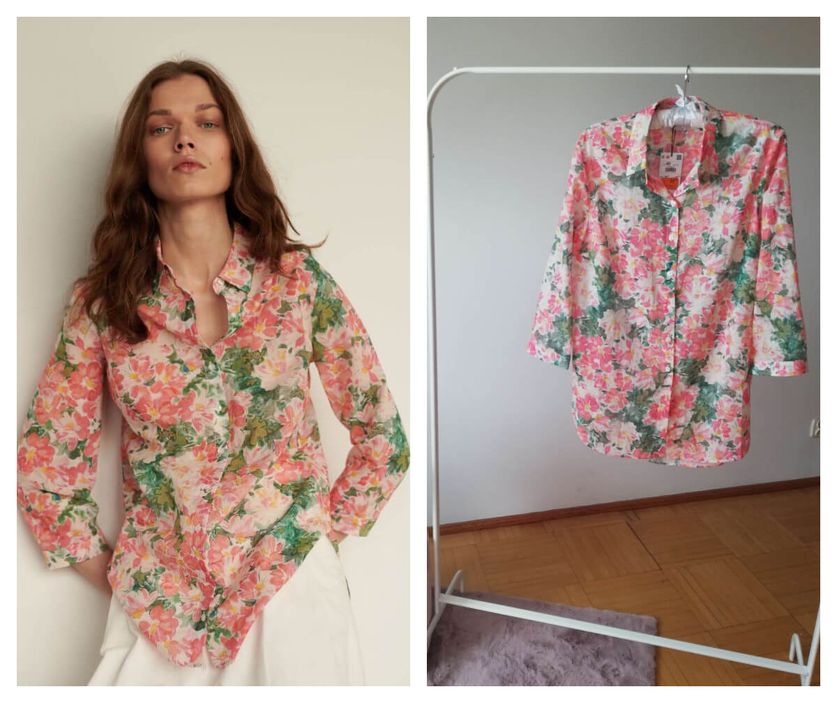bluzka bawełniana w kwiaty z Reserved