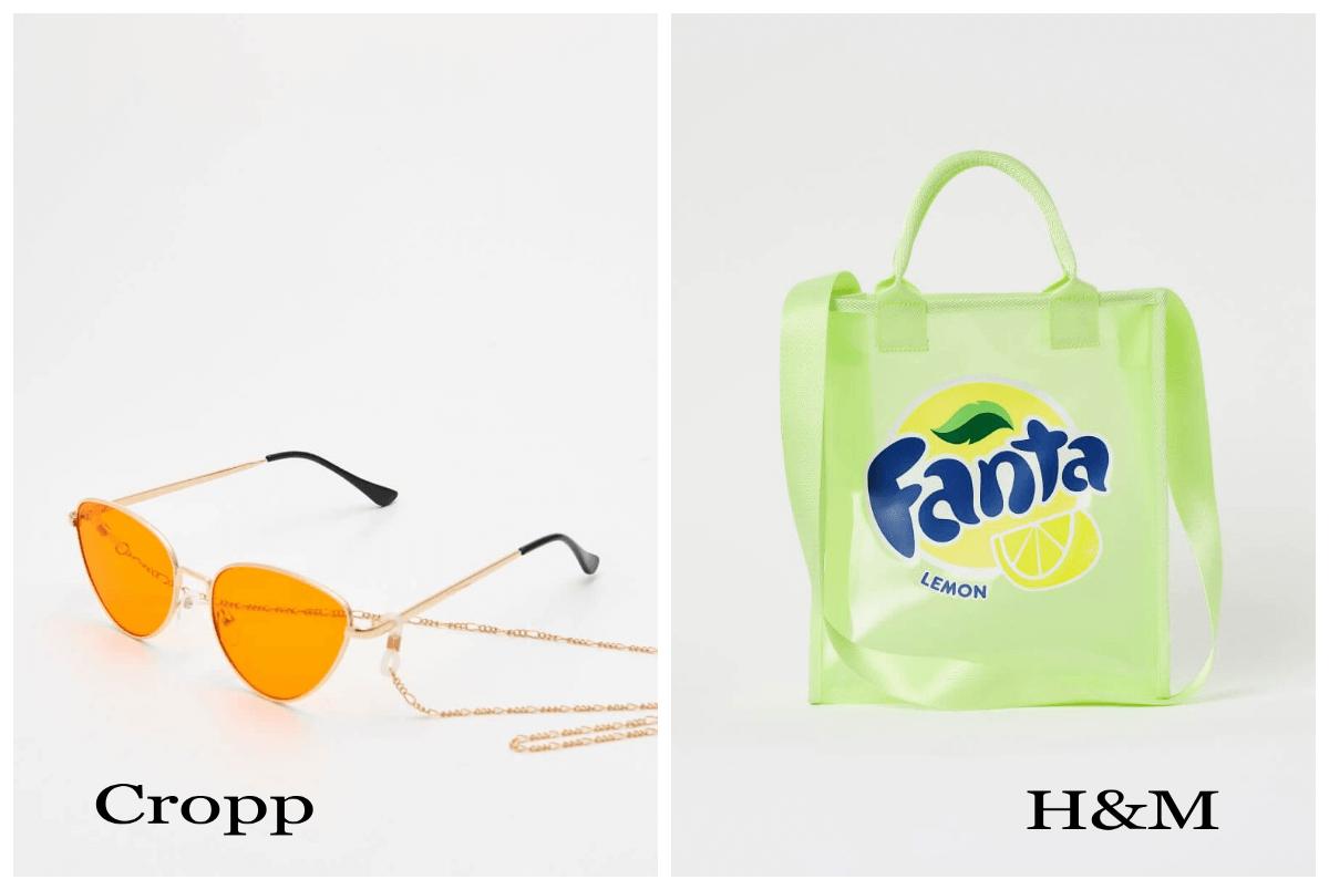 żołte okulary i shopper z cytryną Fanta