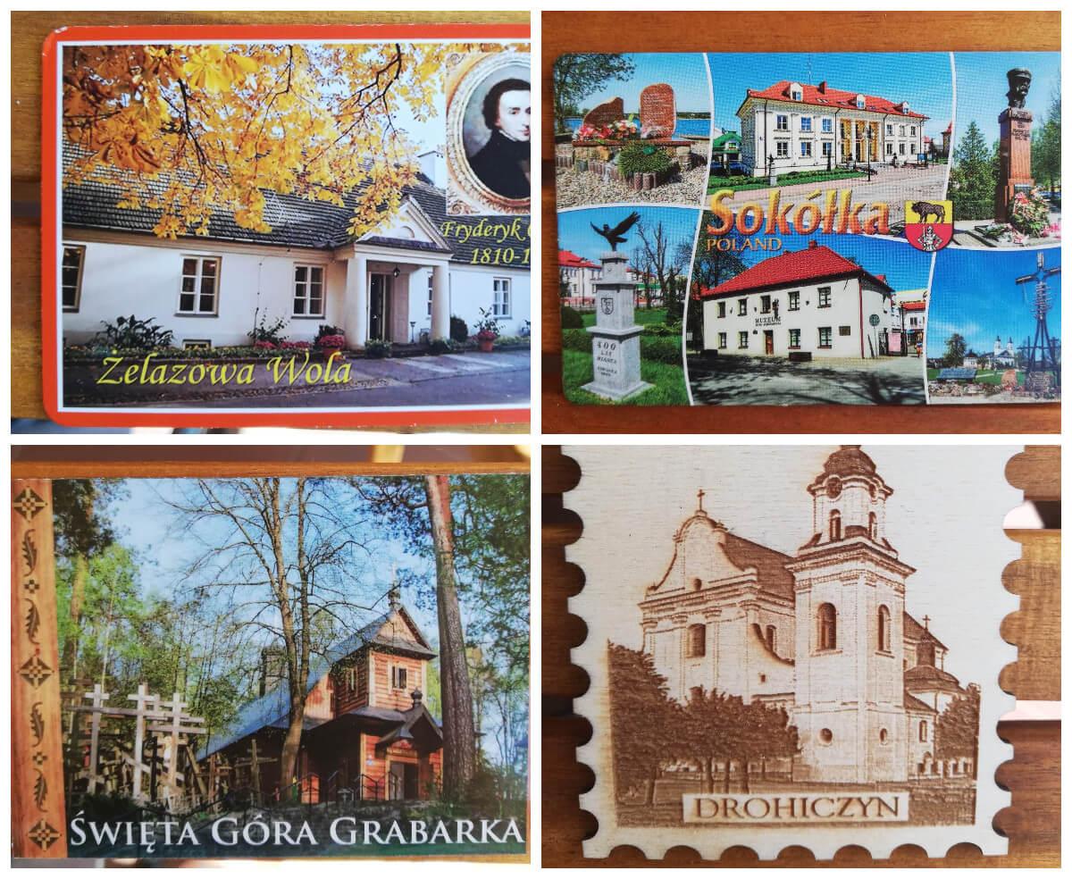 wakacje 2020 magnesy z róznych miejsc na Podlasiu