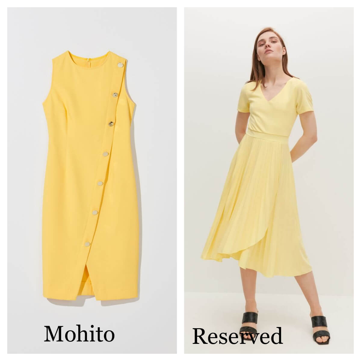 sukienki w cytryny i żółta z Mohito oraz Reserved