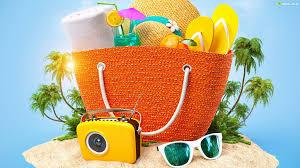 torba plażowa z akcesoriami na wakacje i na plażę