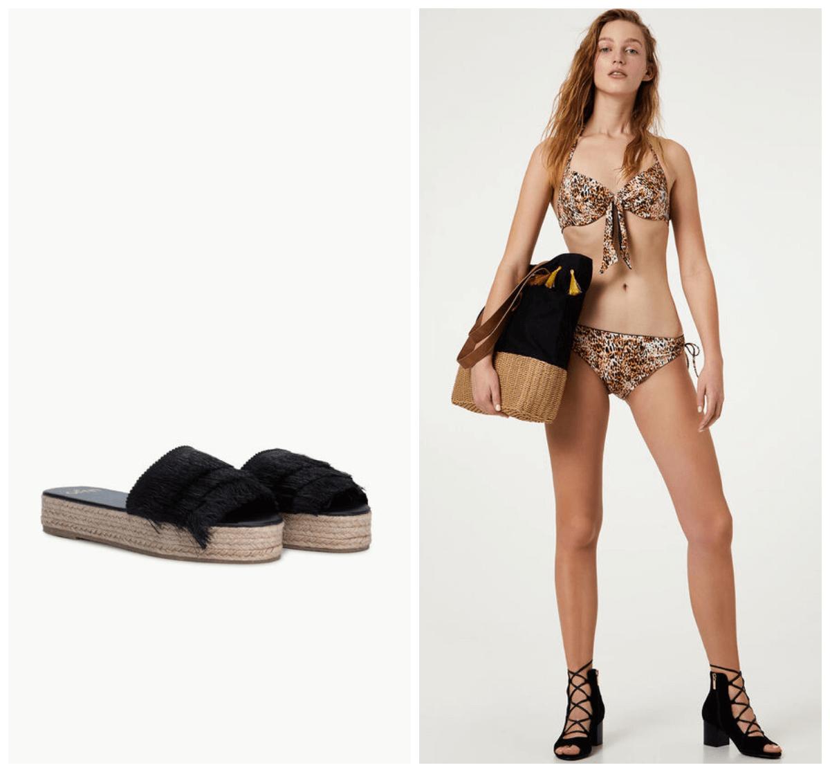 wakacje 2020 modelka w stroju kąpielowym i klapki na lato