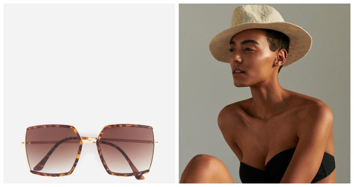 wakacje 2020 okulary i modelka w kapeluszu