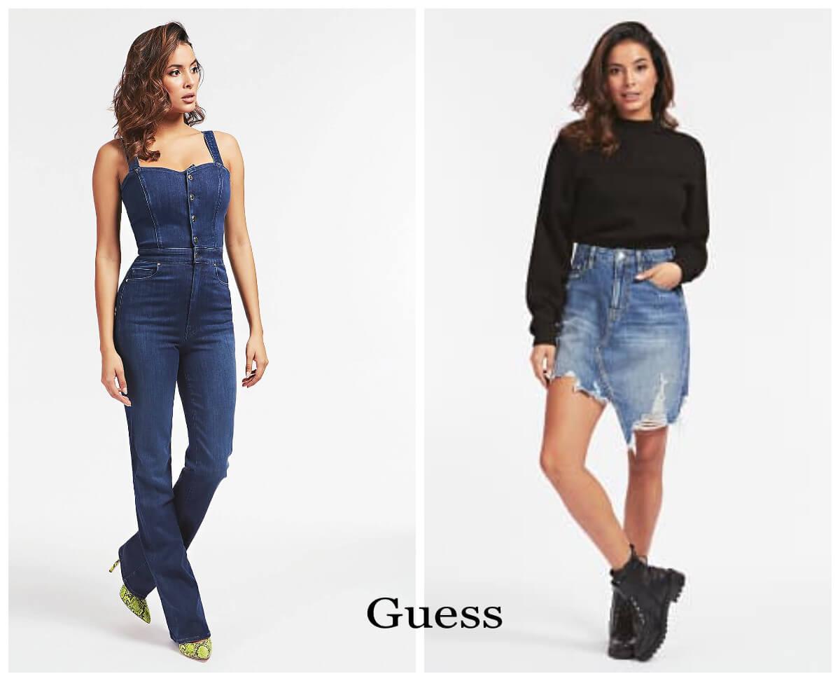 jeans król trendów jesien 2020 kombinezon i spódniczka z Guess