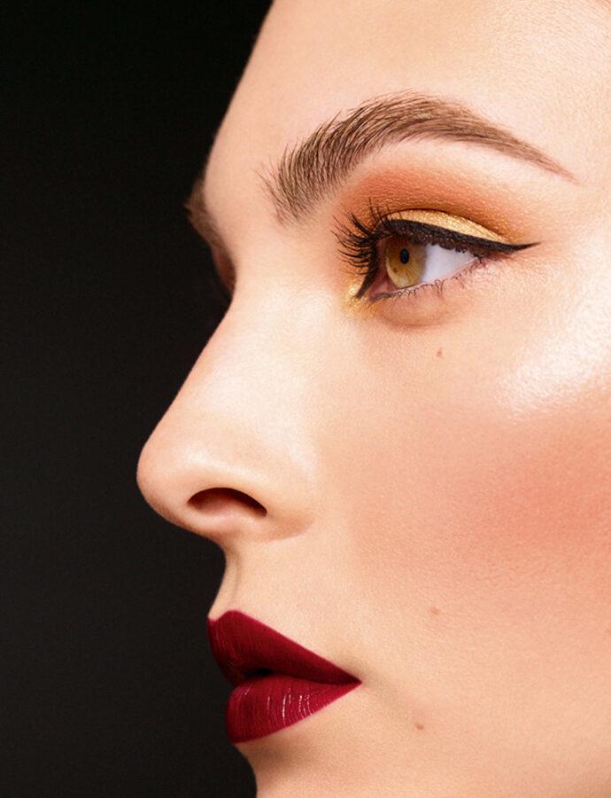 Święteczne trendy makijażowe na Święta Bożego Narodzenia twrz modelki