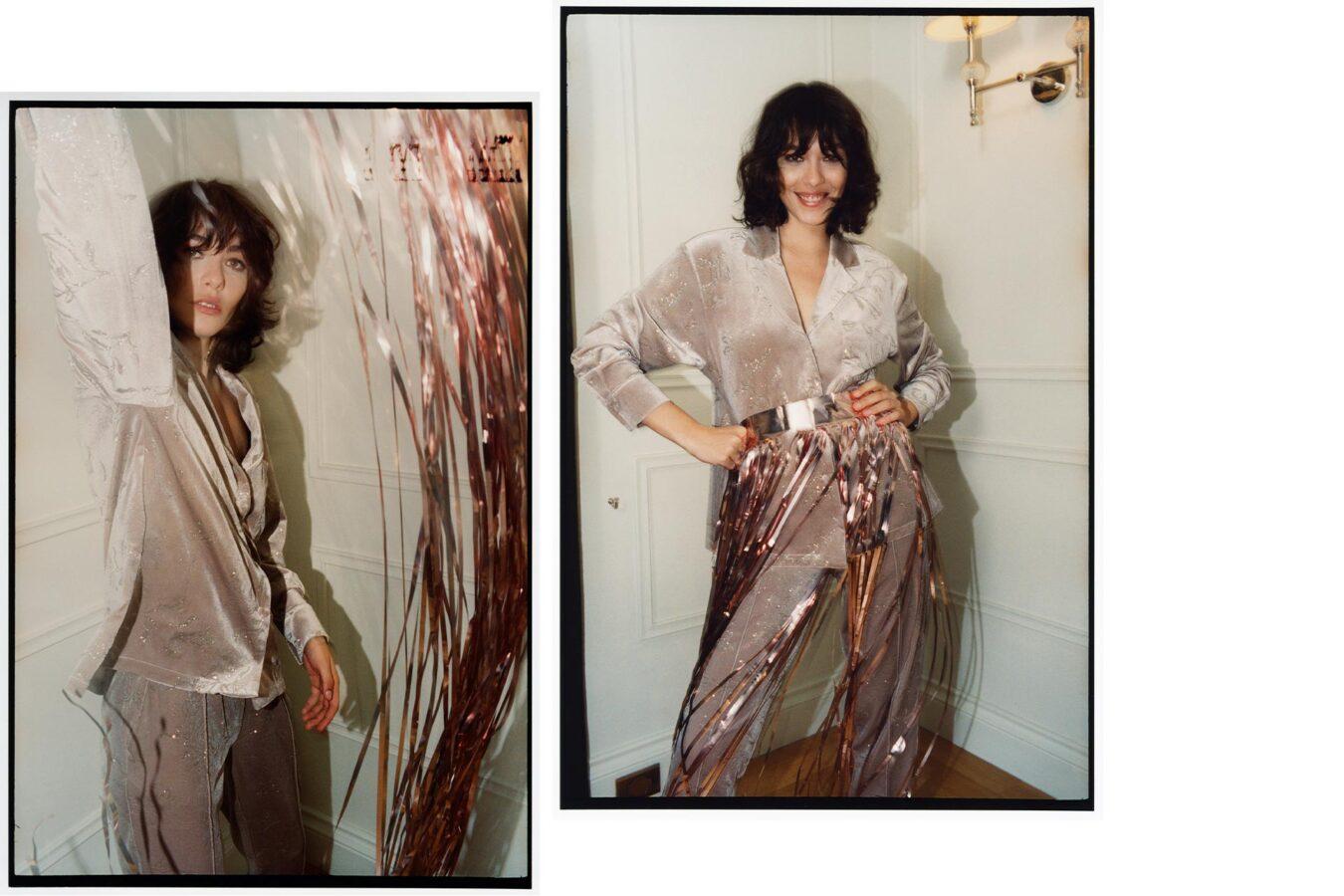 modelka w świecących spodniach