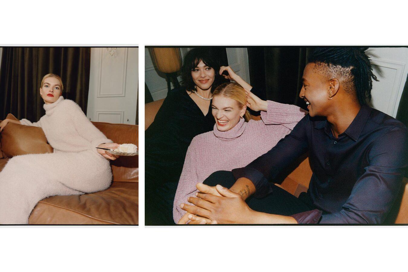 modelka w różowym swetrze na kanapie
