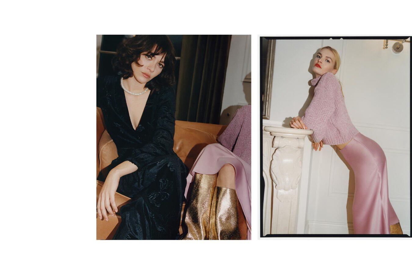 modelka w czarnej sukni i różowej