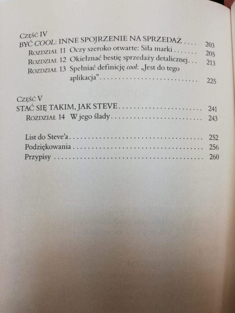 spis treści książki o Steve Jobs