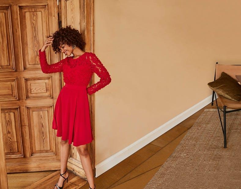 czerowona sukienka z Orsay
