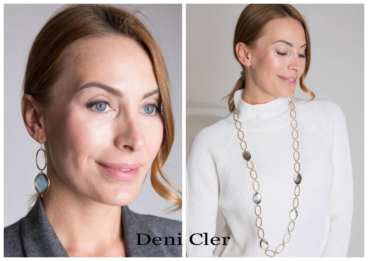 modelka w kolczykach i naszyjniku od Deni Cler