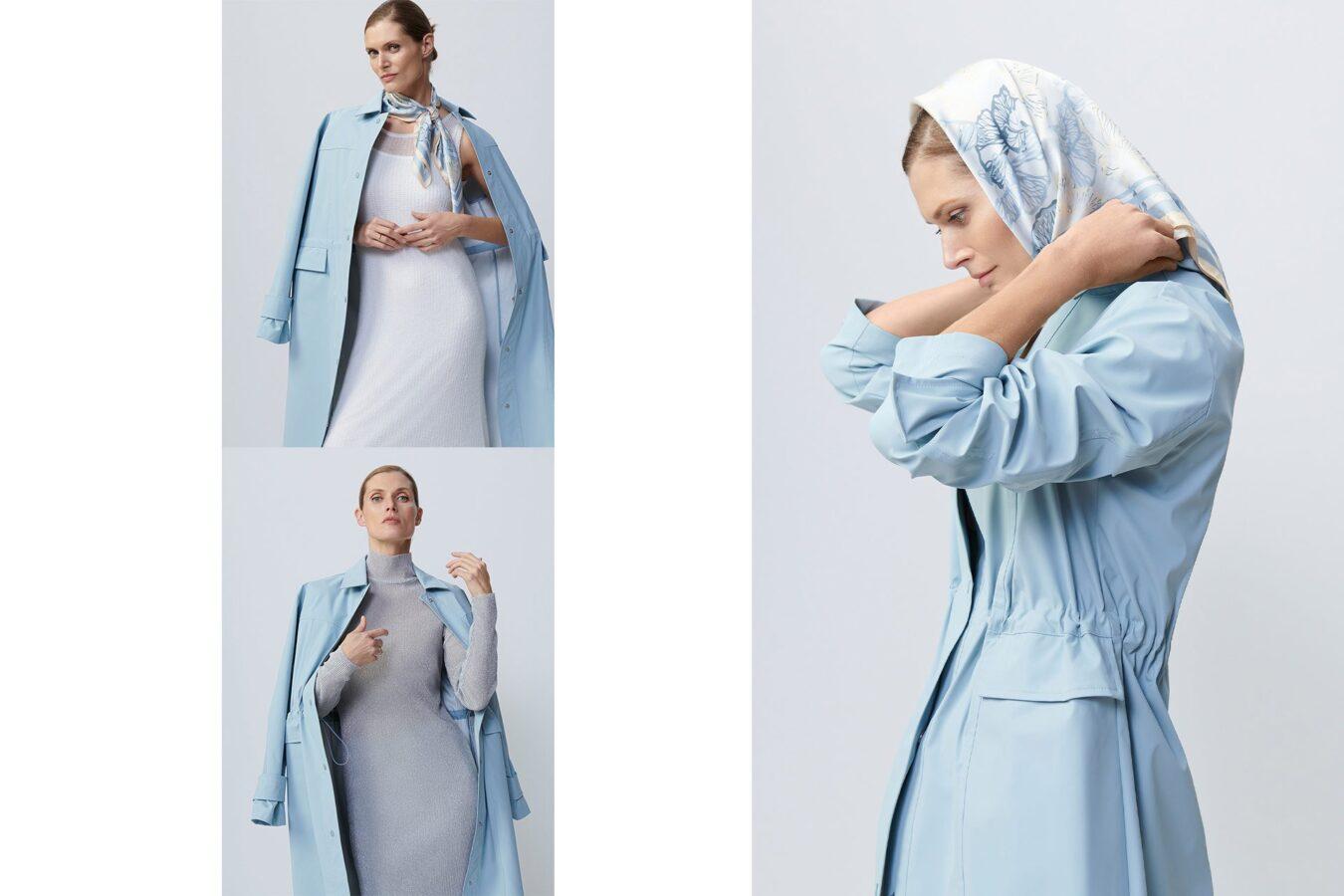 modelka w niebieskim płaszczu