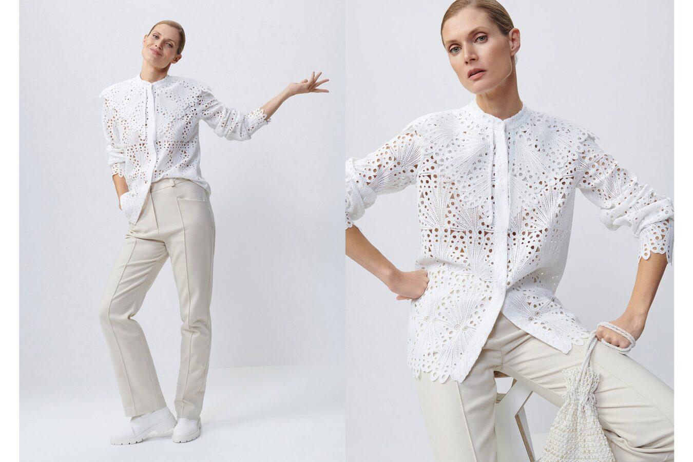 biała haftowana bluzka od Reserved