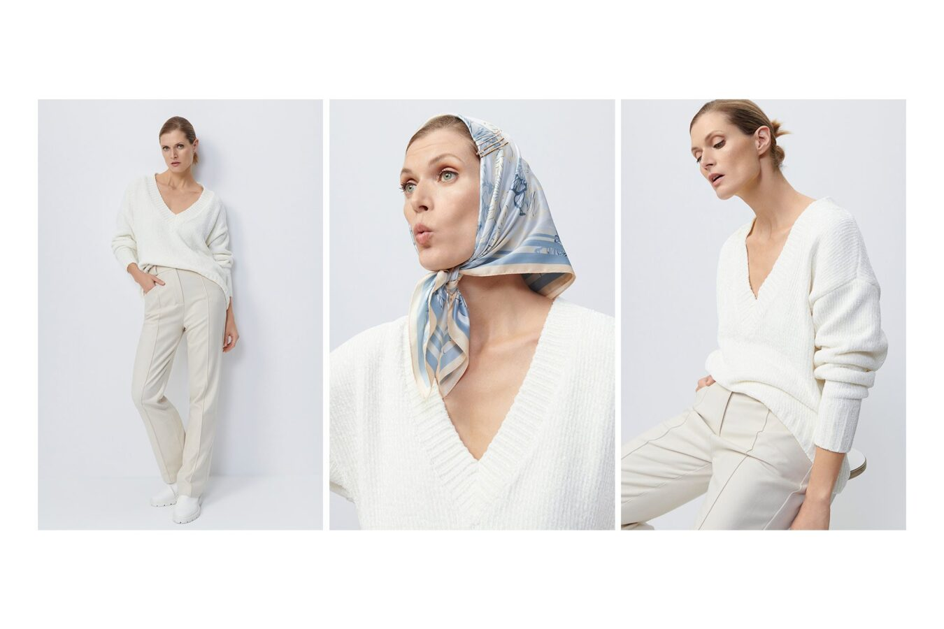 modelka w białych spodniach i chustce