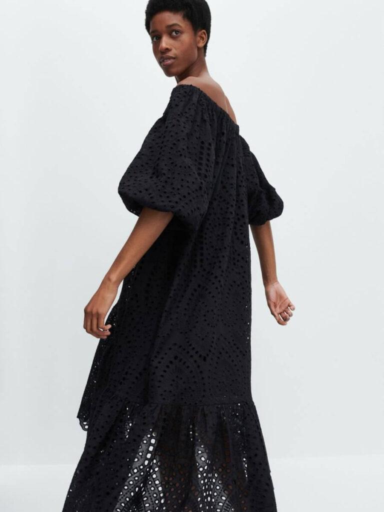 czarna haftowana suknia z bawełny Reserved