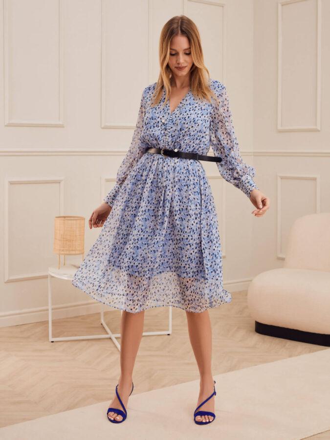 sukienka do kolan w niebieski wzór od Taranko