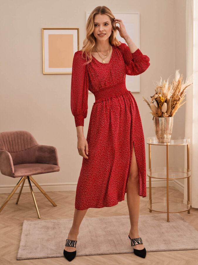 czarwona parsyska sukienka w korpeczki od Taranko