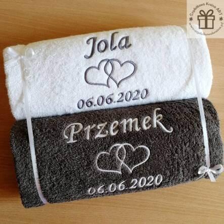 słub i wesele w wakacje ręczniki dla panny i pana młodego