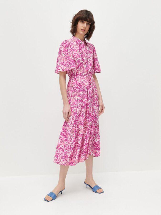 sukienki na lato 2021 różowa szmizjerka