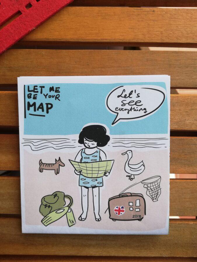 moje wakacje 2021 zdjęcie rysunku dziewczynki planującej trasę